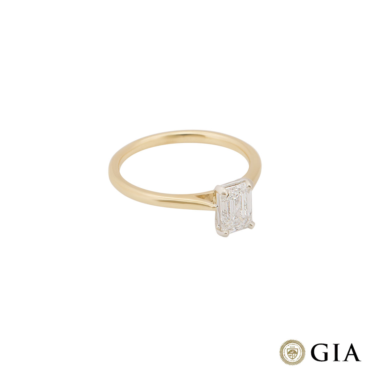 Yellow Gold Emerald Cut Diamond Ring 0.92ct F/VS2